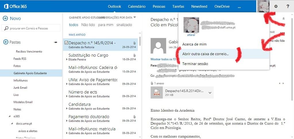 Outlook Web App: Abrir outra caixa de correio